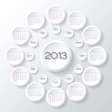 2013 calendar design. white circles 3d calendar design template