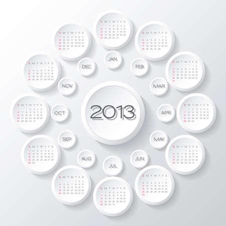 calendar design:  2013 calendar design. white circles 3d calendar design template