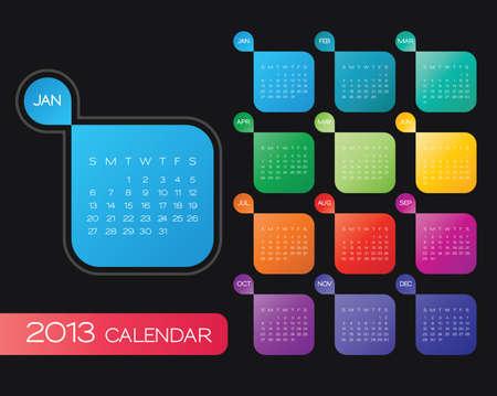 vector calendar 2013. simple colorful calendar design template