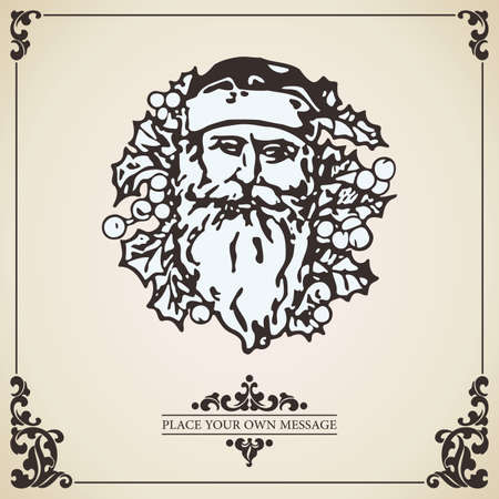 victorian christmas: Vintage vector Christmas card background. Santa Claus within Christmas wreath isolated on aged paper.