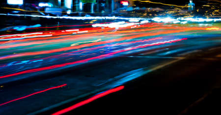 light trails in the city street at night background. Traffic lights. Long exposure photo. Stock Photo - 18445916