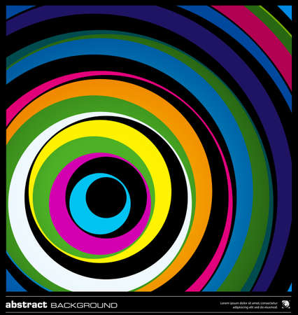 Abstract colorful geometric background made by circles vector illustration. Vector swirl background layout template. Modern colorful stripes background. Dark wavy lines design background.