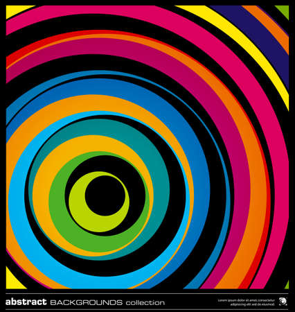 twirl: Abstract colorful geometric background made by circles vector illustration. Vector swirl background layout template. Modern colorful stripes background. Dark wavy lines design background.