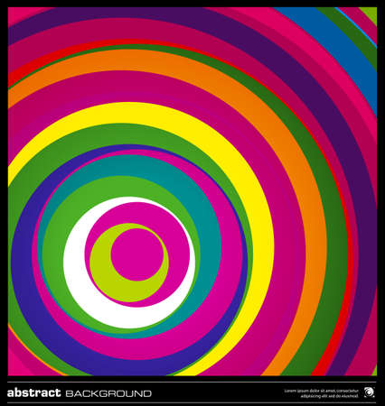 Abstract colorful geometric background made by circles vector illustration. Vector swirl background layout template. Modern colorful stripes background. Bright wavy lines design background. Illustration