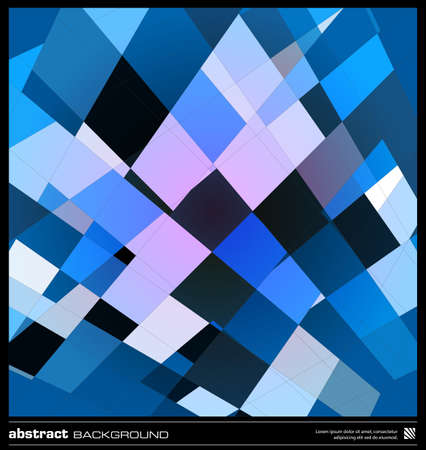Abstract blue geometric background. Modern design vector illustration. Poster, card, flyer or cover template. Blue background made by lines and rectangular shapes. Mosaic vector. Stock Vector - 19057125