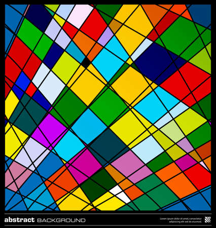 Abstract colorful geometric background. Modern design vector illustration. Poster, card, flyer or cover template. Colorful background made by lines and rectangular shapes. Mosaic vector. Stock Vector - 19057123
