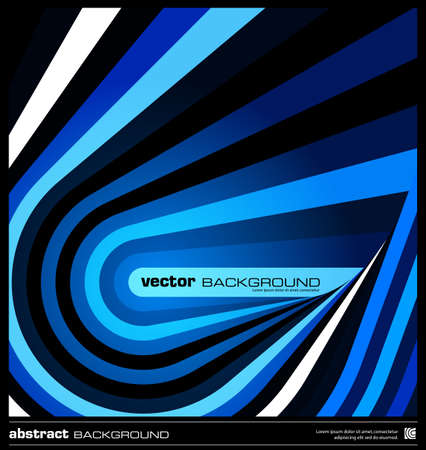 Abstract geometric background made by stripes vector illustration. Techno poster, card, flyer or cover template. Modern background. Blue striped background. Dark wavy lines design background. Illustration