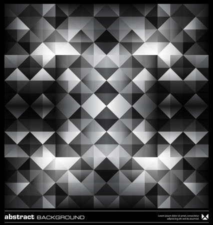 Triangles  background design. Black and white pattern. Abstract modern mosaic seamless pattern. Retro poster, card,flyer or cover template. Illustration