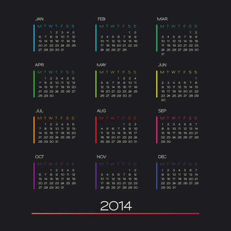 vector calendar 2014. clean business calendar design template
