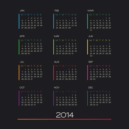 vector calendar 2014. clean business calendar design template