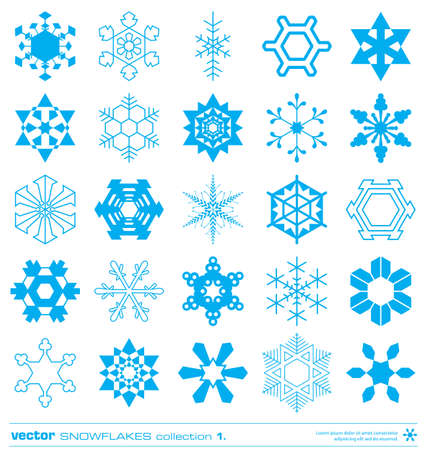 snow crystals: Snowflakes silhouette design vector set. Concept christmas snowflakes icon collection. Illustration