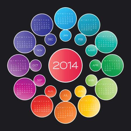 vector calendar 2014. circle calendar design template