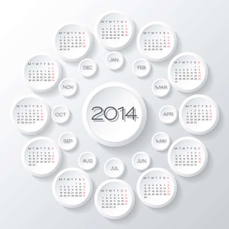 vector 2014 calendar design. white circles 3d calendar design template Vector