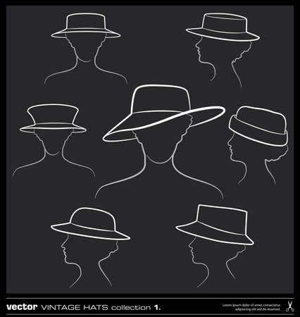 Woman hats vector set. Hand drawing vector collection.  Vector