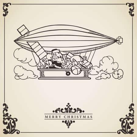 piloting: Santa Claus piloting a dirigible full of gifts. Vintage Christmas card vector. Alternative transportation concept. Illustration