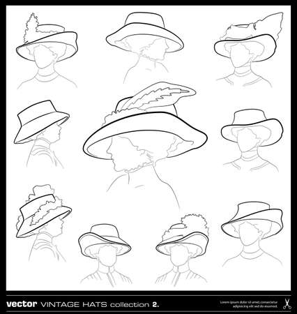 Vintage woman hats vector set. Hand drawing vector collection. Vector