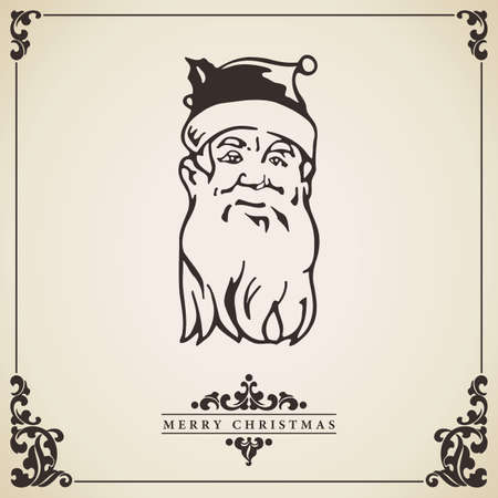 Vintage Christmas card vector. Santa Claus isolated on aged paper. Vector