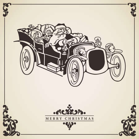 Vector of vintage Christmas card with Santa Claus driving an old car full of gifts. Transportation concept.