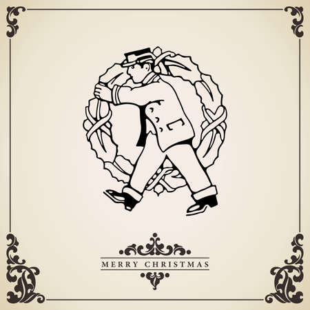 bringing: Postman bringing a big Christmas wreath. Vintage Christmas card vector. Isolated on aged bordered paper.