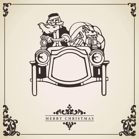 driving a car: Pap� Noel que conduce un coche lleno de regalos y juguetes. Vector de la tarjeta de Navidad en el papel envejecido estilo vintage. Concepto de transporte alternativo. Vectores
