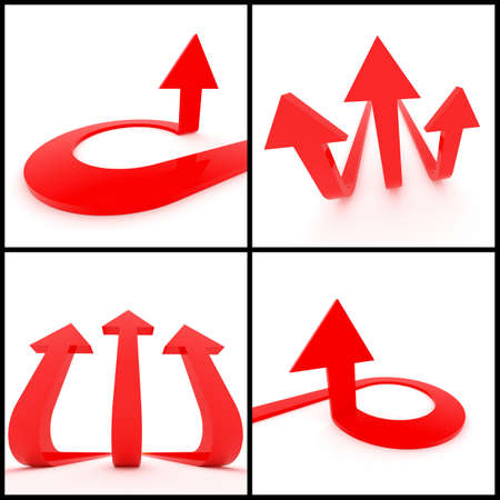 trident: 3d rendered image set of red 3d arrows on a white background. Leadership, direction trident, growth concept.