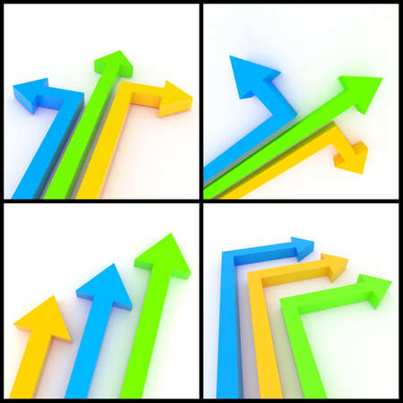 3d rendered image set of orange, blue and green 3d arrows on a white background. Direction, separation, leadership, growth, ascension concept. photo
