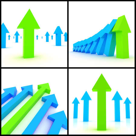 3d rendered image set of blue and green 3d arrows on a white background. Direction, ascension, growth, leadership concept. photo
