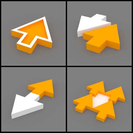 flèche double: 3d a rendu l'image ensemble de flèches 3D orange et blanc sur un fond gris. En face, le leadership, la direction concept.