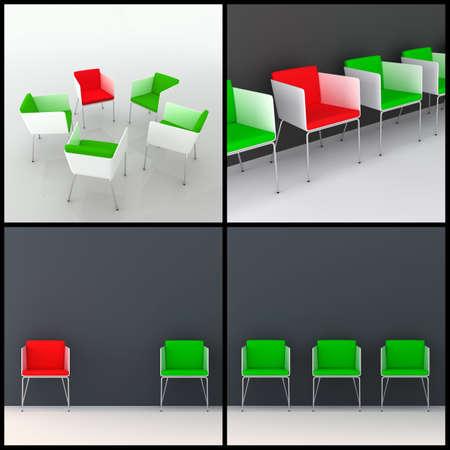 scenarios: 3d rendered image set of modern 3d chairs in different arrangement scenarios. Individuality, leadership, diversity, meeting concept.
