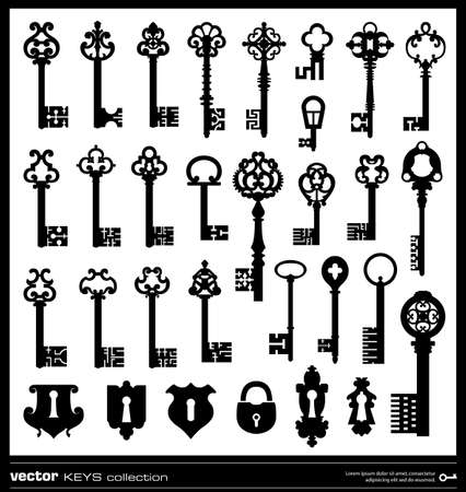 Old keys silhouette collection. Vintage key vector silhouettes and keyholes. Vector