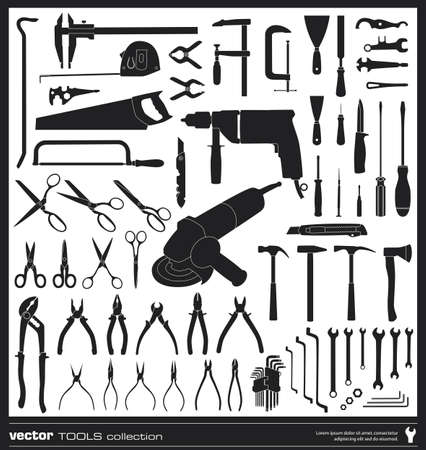 angle grinder: Tools vector silhouettes collection. Handtool types.