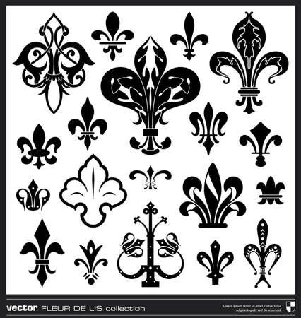 Lily flower vector. Fleur de lis vector collection. Vintage lily flower emblems.