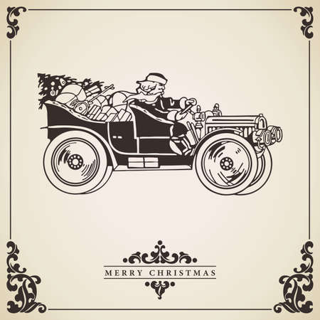 Christmas card vector with Santa Claus driving an old car full of gifts. Vintage card. Transportation concept.