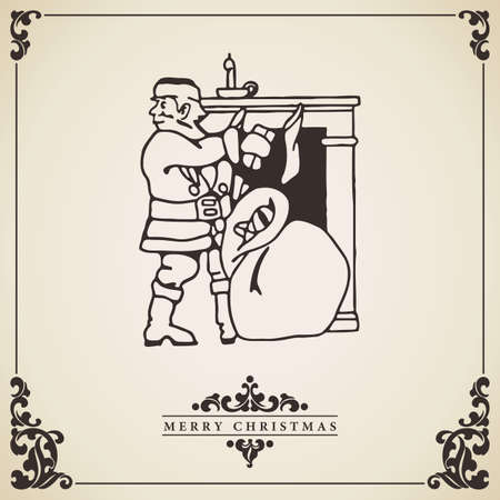 bringing: Santa Claus vintage christmas card vector.  Santa Claus bringing gifts at fireplace illustration isolated on decorative bordered paper. Illustration