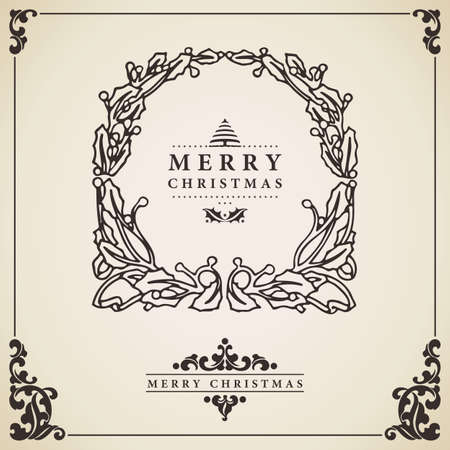 Christmas wreath. Vintage Christmas card vector. Isolated on decorative bordered paper. Vector