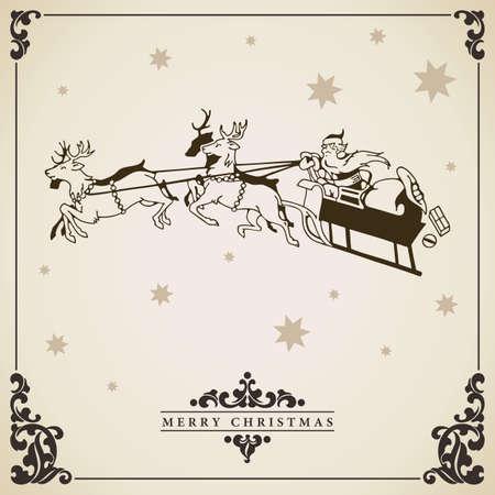 Santa Claus rides in a sleigh vector illustration. Christmas card vintage decorative design. Vector