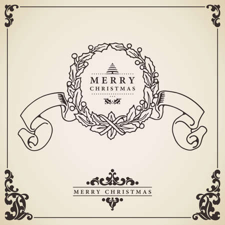 Christmas wreath. Vintage Christmas card vector. Wreath with ribbon isolated on decorative bordered paper. Vector