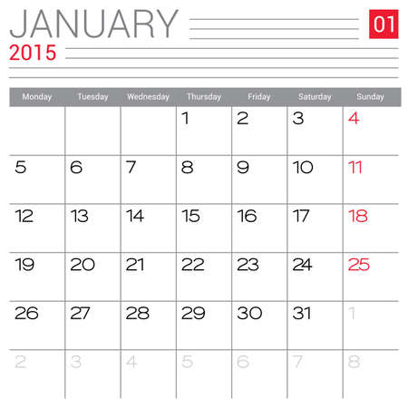 January 2015 calendar vector design template. Simple blank calendar illustration. Vector