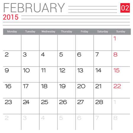 red ribbon week: February 2015 calendar design template.