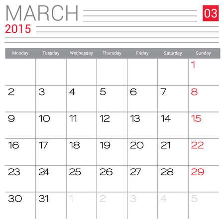September 2015 Calendar Vector Design Template Simple Blank