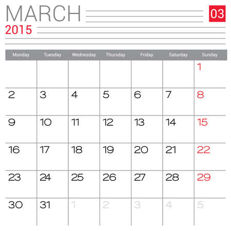 red ribbon week: March 2015 calendar vector design template. Simple blank calendar illustration.