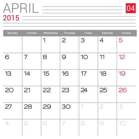 red ribbon week: April 2015 calendar vector design template. Simple blank calendar illustration.
