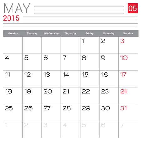 May 2015 calendar design template.