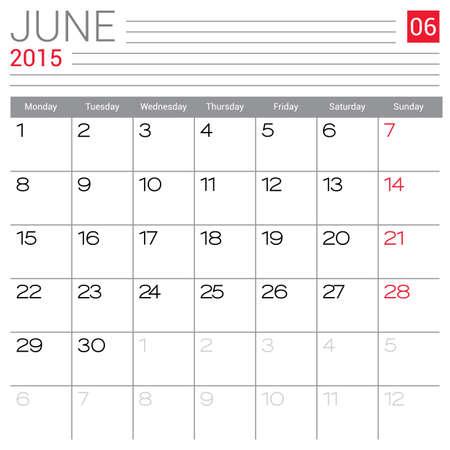 red ribbon week: June 2015 calendar vector design template. Simple blank calendar illustration. Illustration