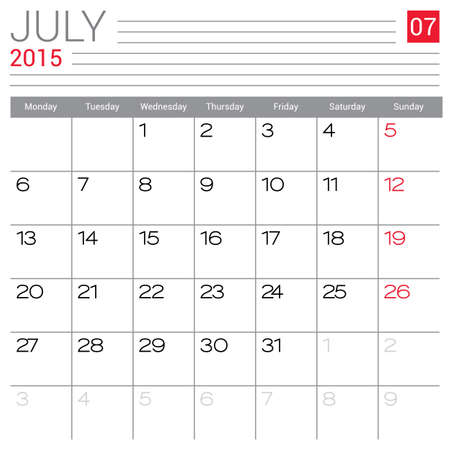 red ribbon week: July 2015 calendar vector design template. Simple blank calendar illustration.