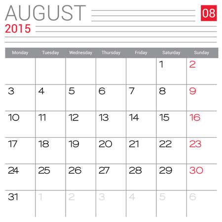 August 2015 calendar vector design template. Simple blank calendar illustration. Illustration