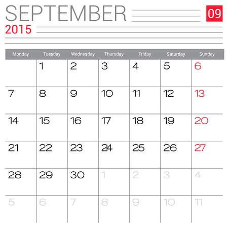September 2015 calendar vector design template. Simple blank calendar illustration. Vector