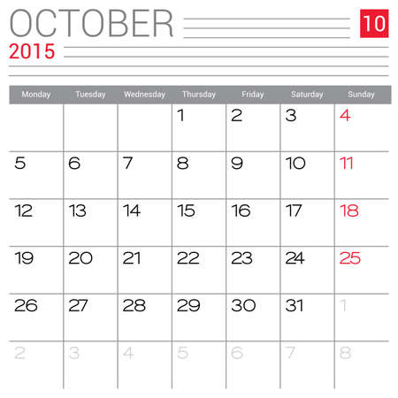 red ribbon week: October 2015 calendar vector design template. Simple blank calendar illustration. Illustration