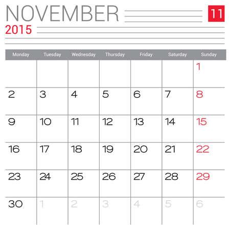 red ribbon week: November 2015 calendar vector design template. Simple blank calendar illustration.
