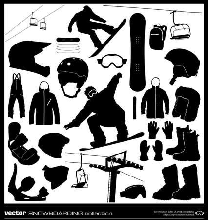 Snowboarding elements vector set. Winter sport silhouettes. Snowboard equipment background.